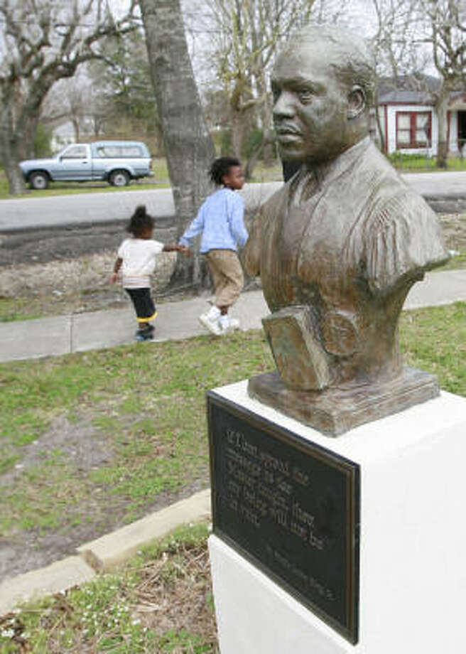 This bust of Martin Luther King Jr. was dedicated in Bricker Park in the early 1980s. Some think his nonviolent legacy would be better represented in Houston with more prominent likenesses. Photo: James Nielsen, Chronicle