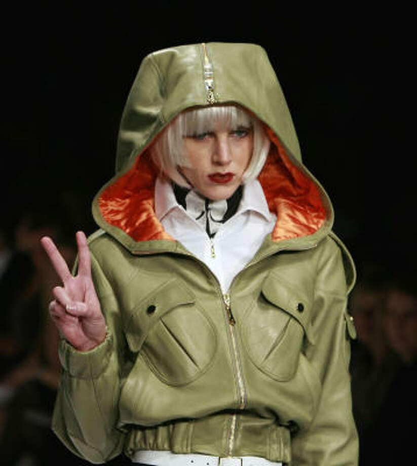 A jacket from the military-inspired Collection Bebe show. Photo: Matt Sayles, Associated Press