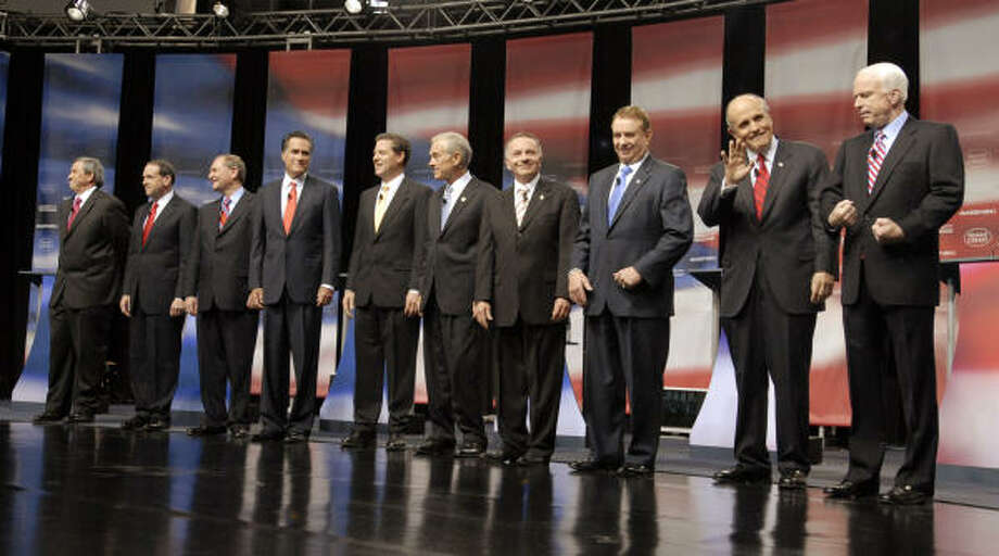 The GOP presidential candidates gather on stage before the debate at the Reagan Presidential Library in Simi Valley, Calif., on Thursday night. Photo: Jamie Rector, Getty Images