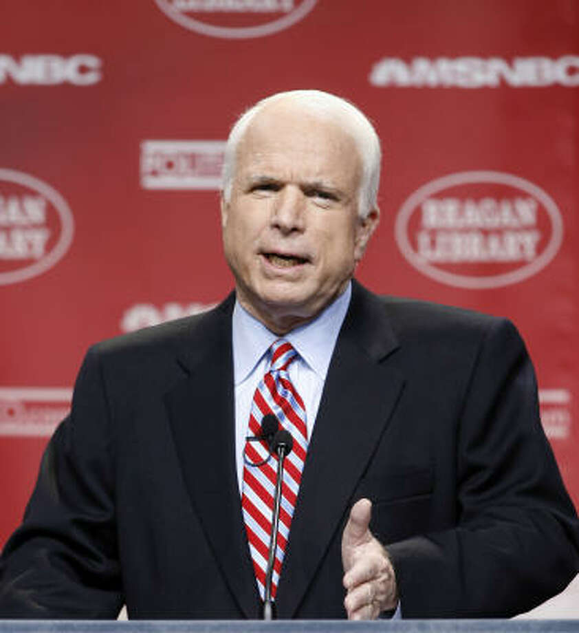 FILE-- R. Arizona Senator John McCain. McCain called Sunday for President Donald Trump to either prove his claim that President Barack Obama tapped the phones in Trump Tower during last year's election campaign or drop the accusation. Photo: Kevork Djansezian, AP
