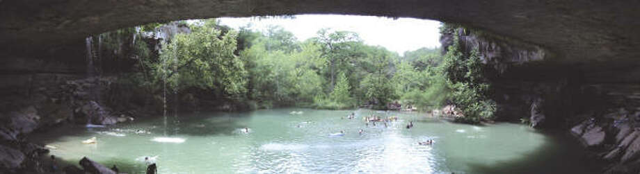 Hamilton Pool in the Hamilton Pool Nature Preserve in Travis County is a natural pool under overhanging rock cliffs. Photo: Travis County