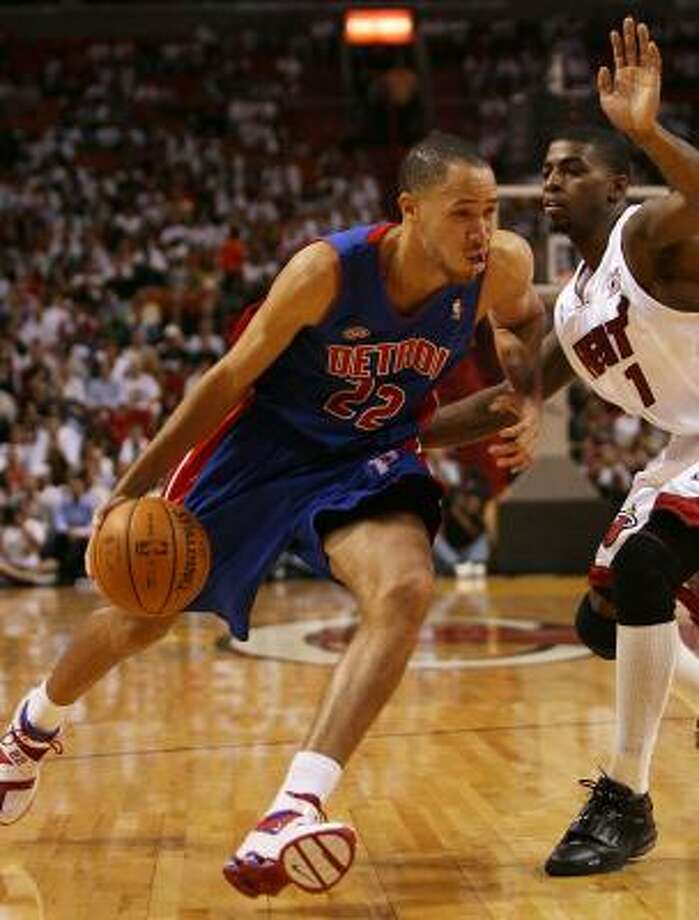 The Pistons' Tayshaun Prince had no trouble finding the basket Thursday, scoring a career-high 34 against the Heat. Photo: DOUG BENC, GETTY IMAGES