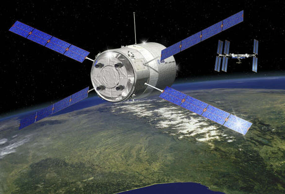 An artist's rendering shows the Jules Verne advancing to the international space station. Photo: D. Ducros, AP