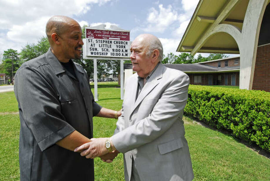 Pastors Paul Landrew, left, and Bob Baldwin made an alliance to save Baldwin's declining congregation at Little York Baptist Church. Now the worship center is part of St. Stephen's Baptist Church. Photo: Tony Bullard, For The Chronicle