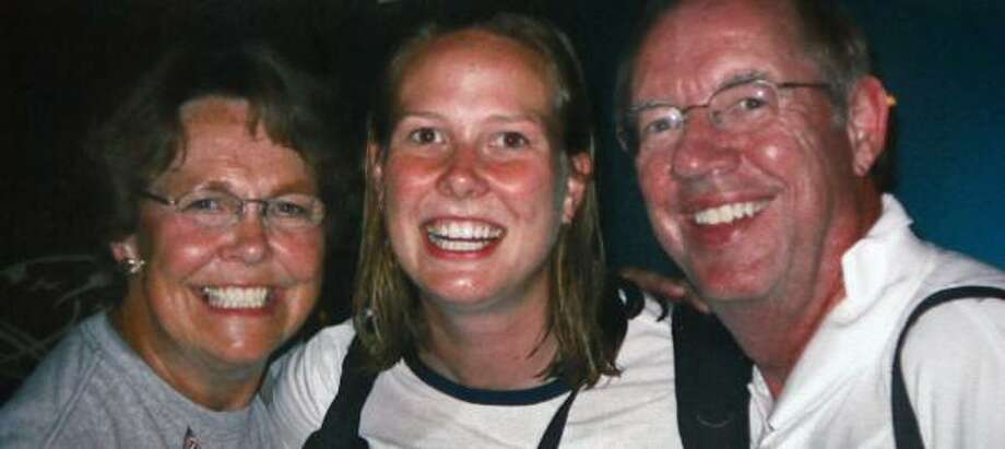 "Todd and Barbara Bachman, the parents of former U.S. women's volleyball player Elisabeth ""Wiz"" Bachman, middle, were attacked along with their Chinese guide in Beijing on Saturday. Photo: FAMILY PHOTO, MINNEAPOLIS STAR TRIBUNE"