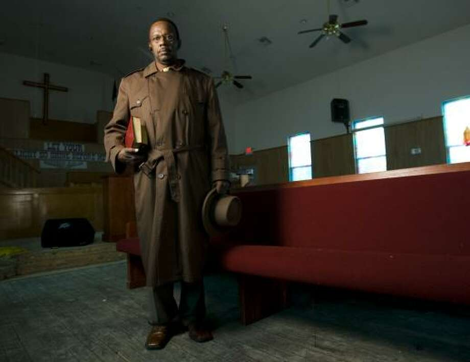 The Rev. W.E. Stevens, pastor of the Progressive Missionary Baptist Church in Galveston, says church members are struggling to raise funds needed for repairs. Photo: BRETT COOMER, CHRONICLE
