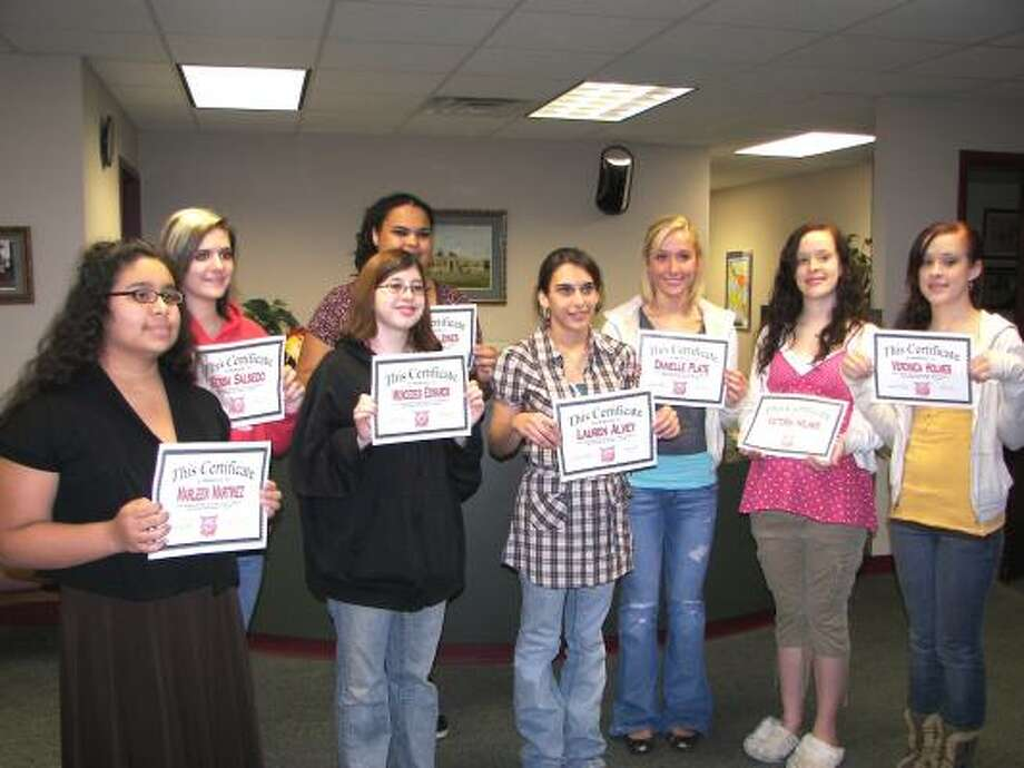RECOGNITION: Splendora choir teacher, James Door recognized several junior and high school choir students at a recent Board of Trustees meeting. Mr. Door complimented the students on the work ethics and dedication. The students present were Marleen Martinez, Tessa Salsedo, Mercedes Edwards, Heather Jones, Lauren Alvey, Danielle Plate, Victoria Holmes and Veronica Holmes.