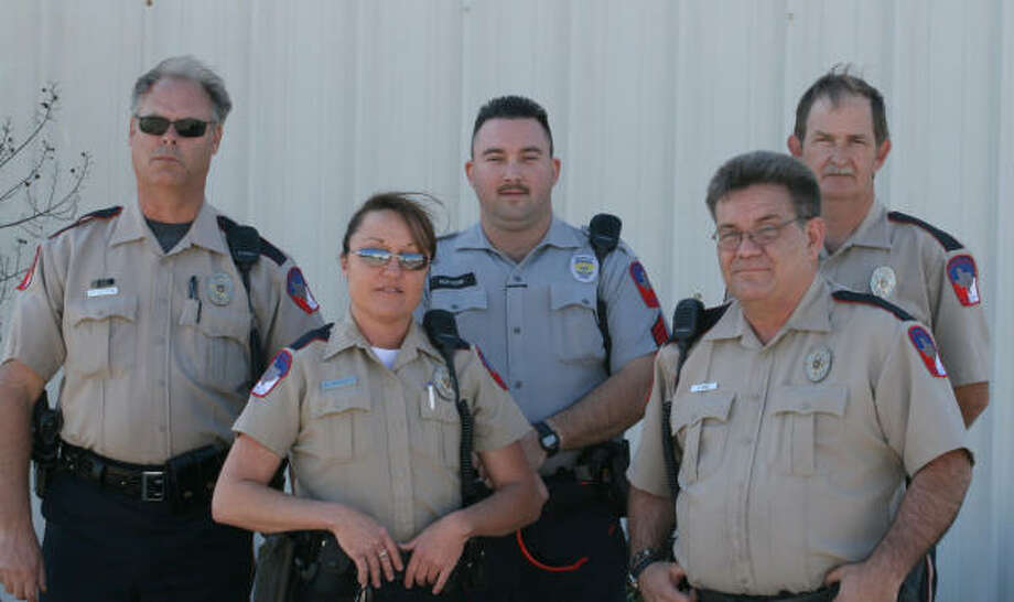Fort Bend County Constable's deputies assigned to Cinco Ranch are, from left: Scooter Kettering, Ana Talbott, Sgt. Jimmy Hutson, Armando Gomez and Lowell Galloway.