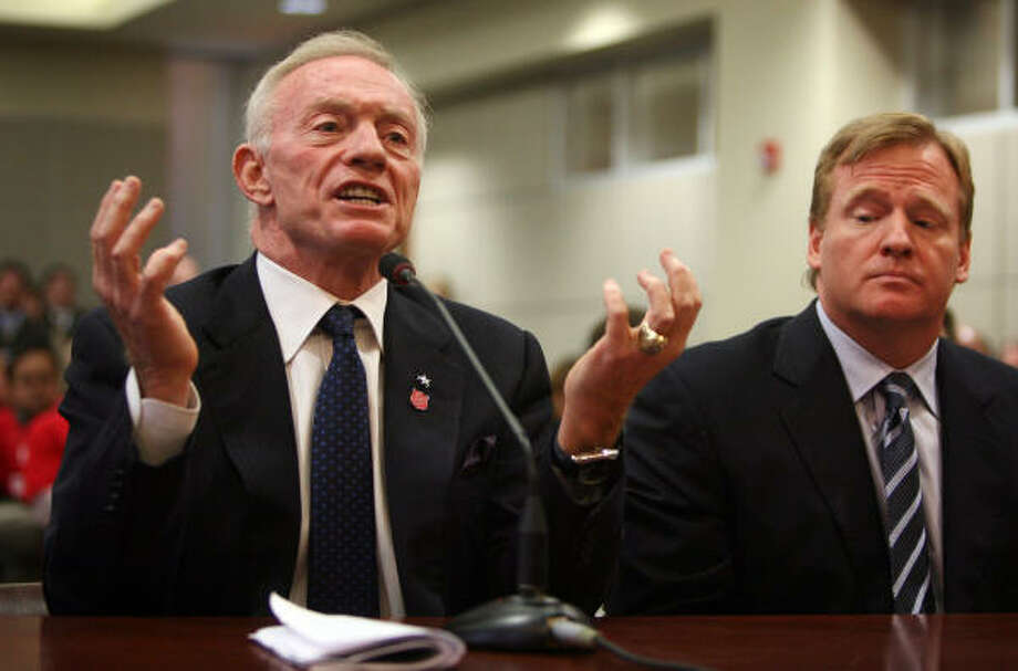 Dallas Cowboys owner Jerry Jones, left, and NFL Commissioner Roger Goodell testify Monday before the Texas House Committee on Regulated Industries about cable TV broadcasts of games. Photo: Jay Janner, Austin American-Statesman