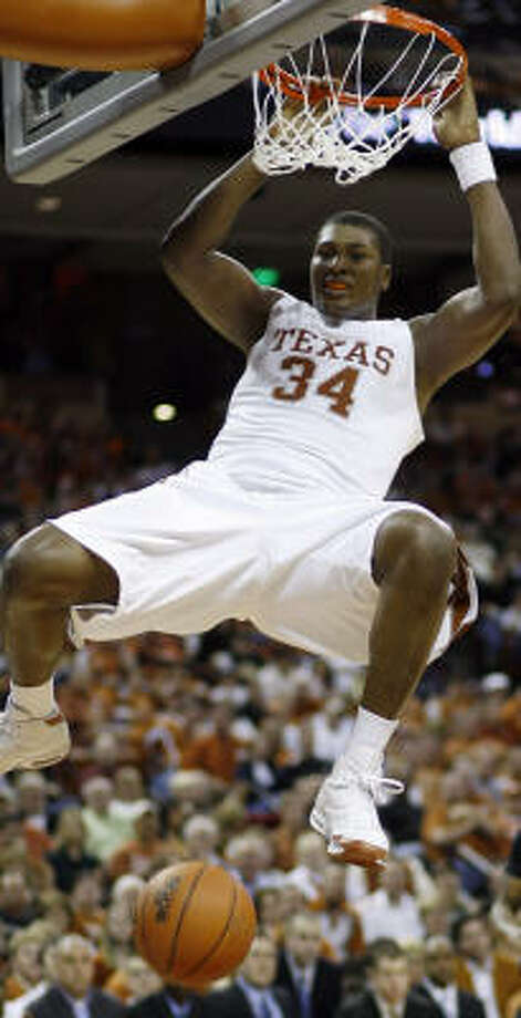 Texas center Dexter Pittman is averaging 8.5 points and 4.4 rebounds, but his production has slowed as Big 12 play has heated up. Photo: Harry Cabluck, AP