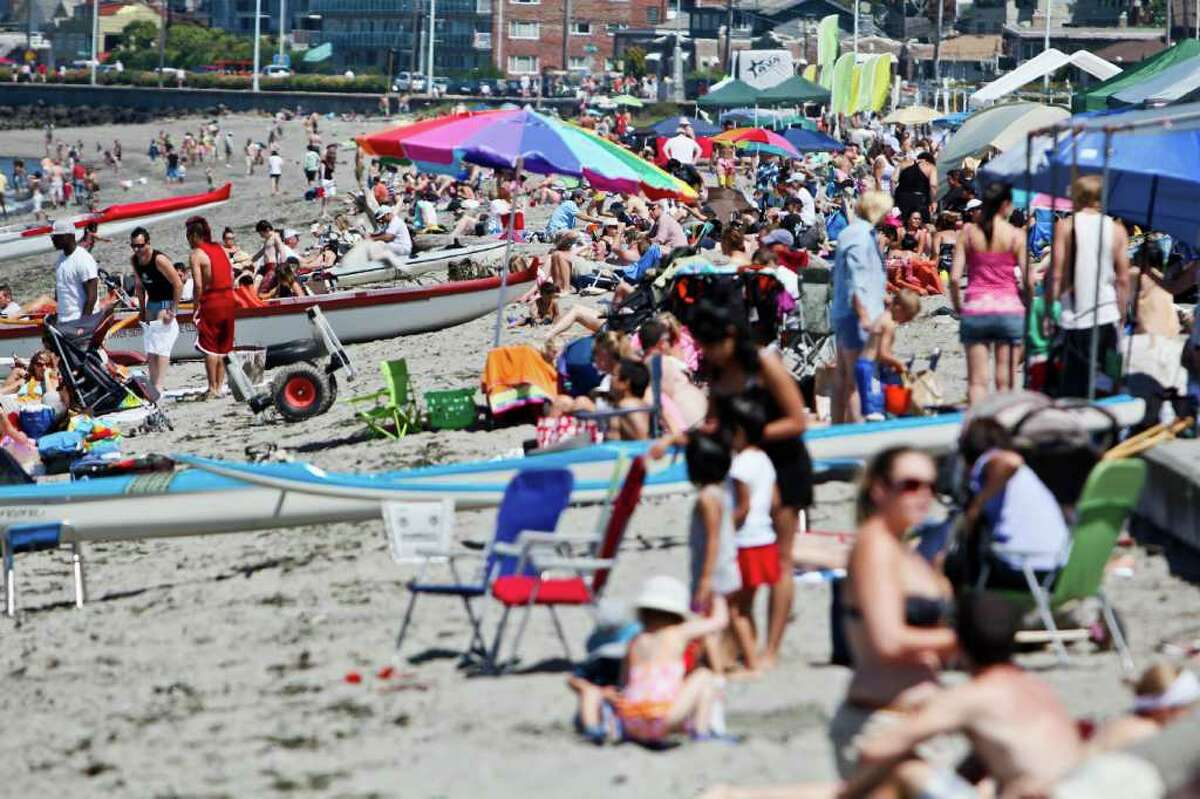 A very crowded Alki Beach in Seattle.