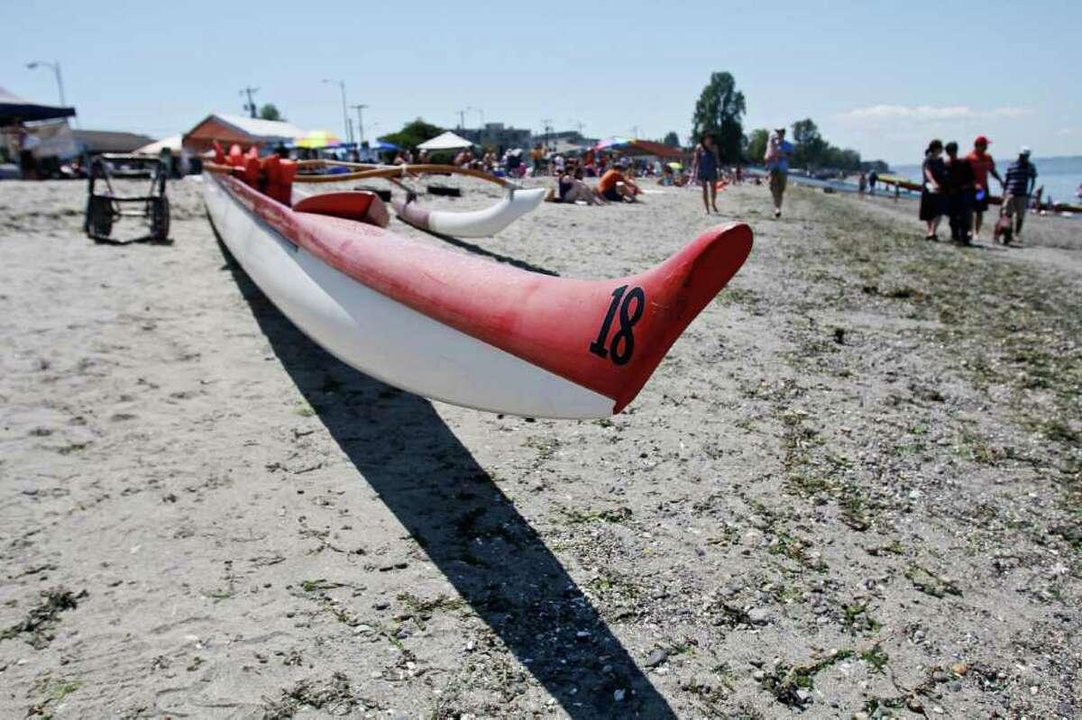 A canoe sits on Alki Beach.