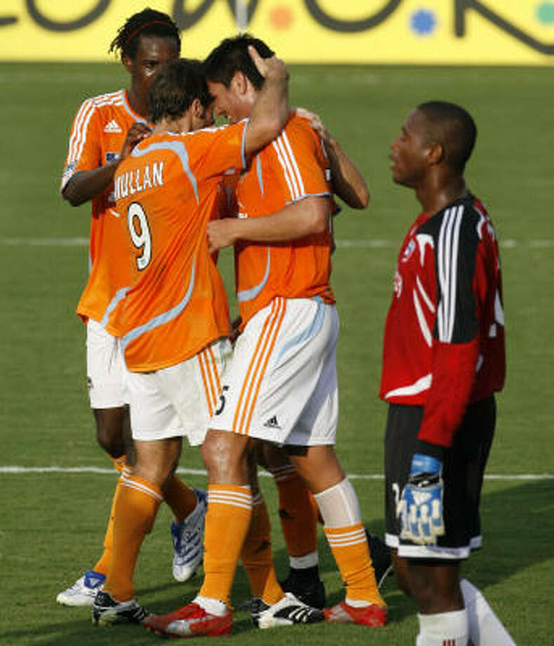 The Dynamo have plenty of reason to celebrate after coming out of a grueling stretch with the conference lead. Photo: Billy Smith II, Chronicle