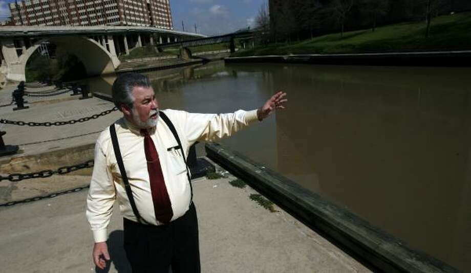Author and historian Stephen L. Hardin stands at Allen's Landing, the place where Buffalo and White Oak bayous meet on which August C. and John K. Allen stepped ashore in 1836. Photo: JOHNNY HANSON, CHRONICLE