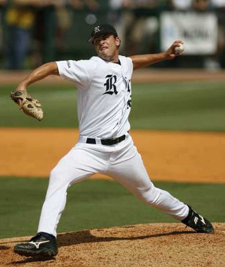 Rice's relief pitcher Cole St. Clair (shown in Saturday's 9-7 super-regional win over A&M) is one reason the Owls are optimistic about their chances in Omaha. Photo: Karen Warren, AP