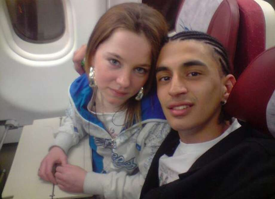 Mohamed D'Ali Carvalho Santos and Cara Marie Burke are shown inside an aircraft at an unknown location in an undated image taken from his cell phone. Photo: GOIAS STATE POLICE