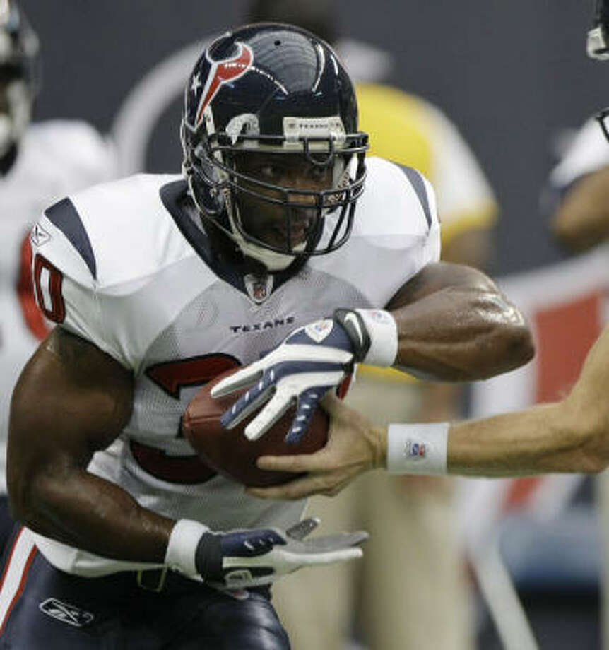 Texans running back Ahman Green, who was injured on the Texans' first play after catching a 5-yard pass, should miss the second preseason game at New Orleans and return for the trip to Dallas. Photo: Brett Coomer, Chronicle