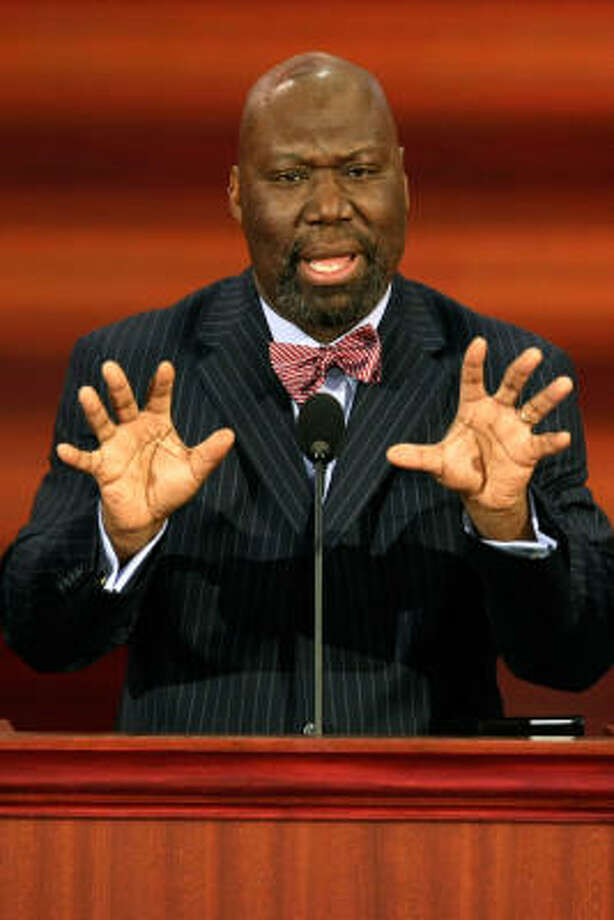 Michael Williams, Texas Railroad Commission Chairman, speaks on day three of the Republican National Convention. Williams says he's proud of Barack Obama's achievements, but disagrees with him politically. Photo: Alex Wong, Getty Images