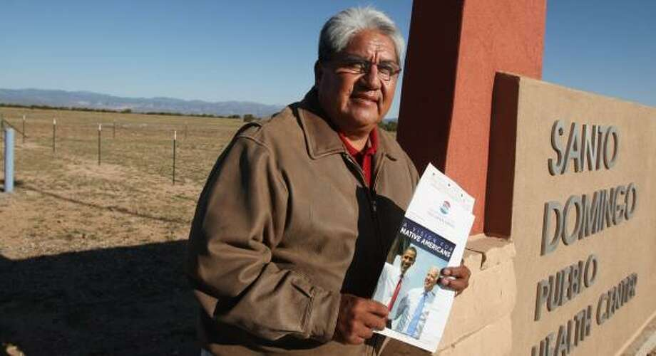 """Everett Chavez of Santo Domingo Indian Pueblo, N.M., says two words in Obama's speech put a lump in his throat: """"Native American."""" Photo: ROSS D. FRANKLIN, ASSOCIATED PRESS"""