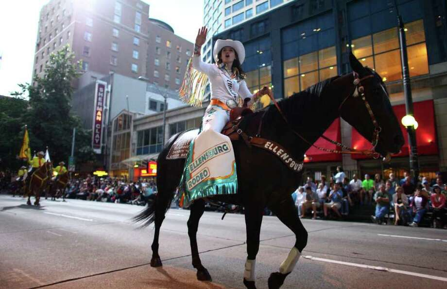 Ellensburg Rodeo royalty makes their way along the route. Photo: JOSHUA TRUJILLO / SEATTLEPI.COM