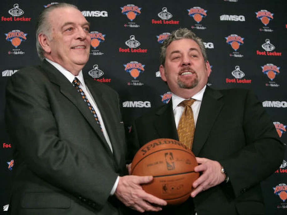 Donnie Walsh, left, new president of the Knicks, and James Dolan, chairman of Madison Square Garden, pose during a news conference on Wednesday. The Knicks gave the longtime Indiana Pacers executive complete power to oversee basketball operations. Photo: Bebeto Matthews, AP