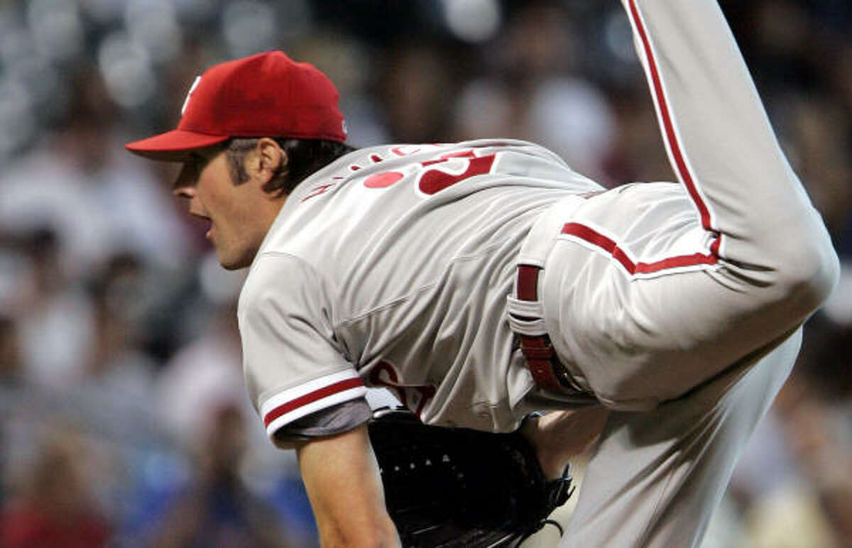 Philadelphia's Cole Hamels pitches against the Astros at Minute Maid Park.
