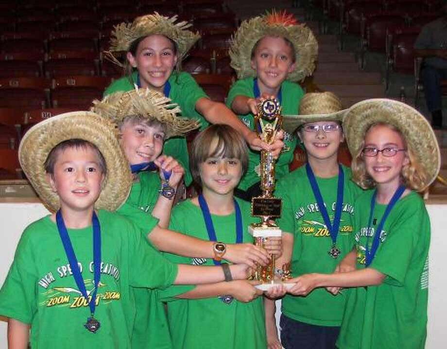 River Oaks Elementary School's Odyssey of the Mind team members include, front from left, Gregory Ross, Daniel Treat, Joseph Caplan, Mikaela Juzswik and Sonia Margolin; and, back, Helen Galli and Jacob Hopkins. Photo: Courtesy Of River Oaks Elementary School