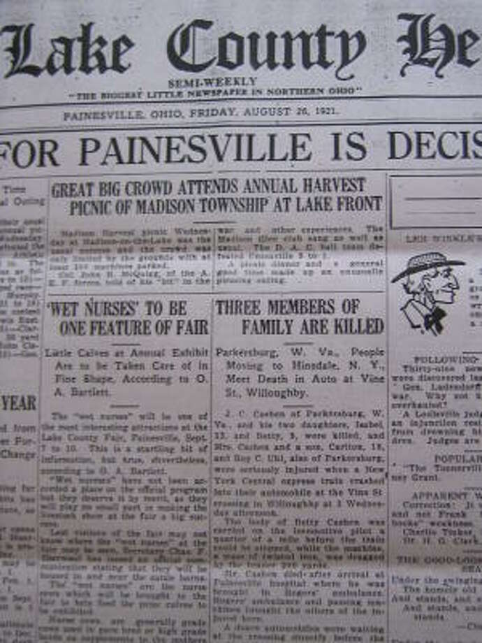 Newspaper clipping of 1921 accident. Photo: Courtesy Family