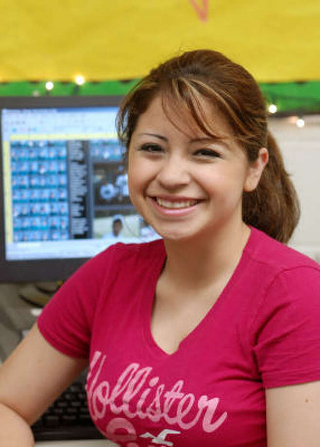 Jessica Salinas is low-key about school and what she has achieved. ``I think of myself as an average student,'' the Spring High School senior said. ``I put effort into it, but I could put in more.'' What Salinas doesn't mention is she's been earning mostly A's in school while working about 50 hours a week at two jobs to help support her family. Photo: Brad Perkins, Fpr The Chronicle