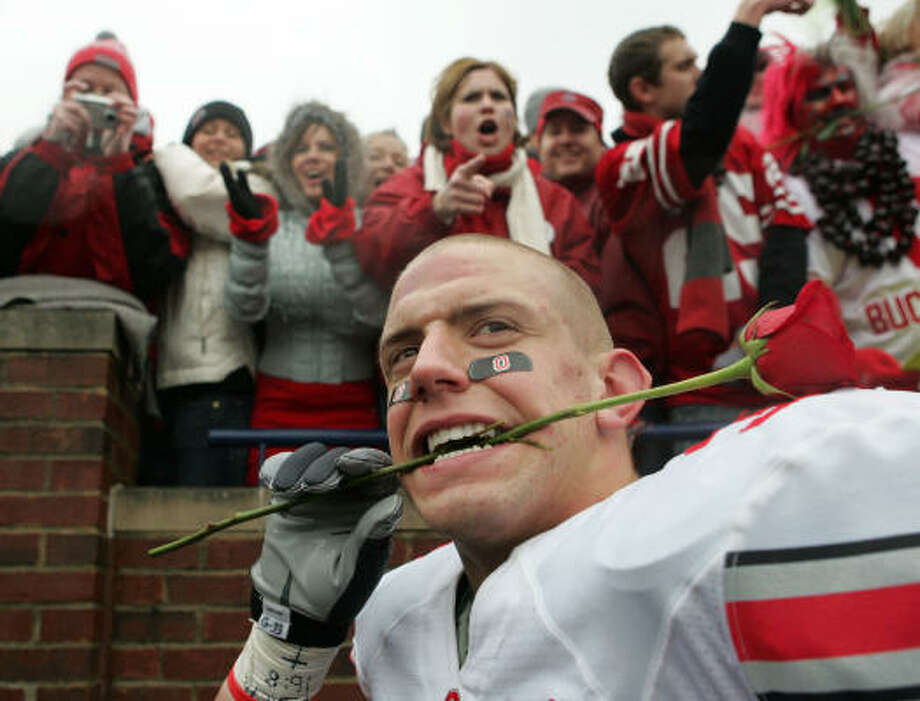 Ohio State linebacker James Laurinaitis is poised to be win the Rotary Lombardi Award. Photo: Tony Ding, AP