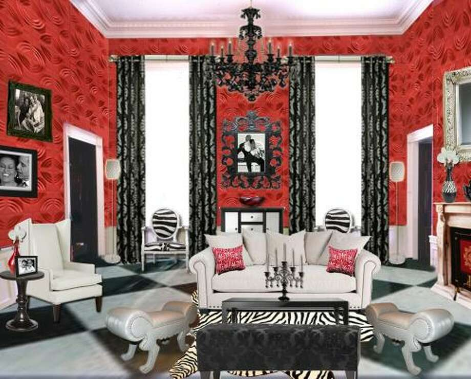 This rendering depicts designer Frank Fontana's ideas for a redesign of the Red Room of the White House. Photo: FRANK FONTANA, ASSOCIATED PRESS