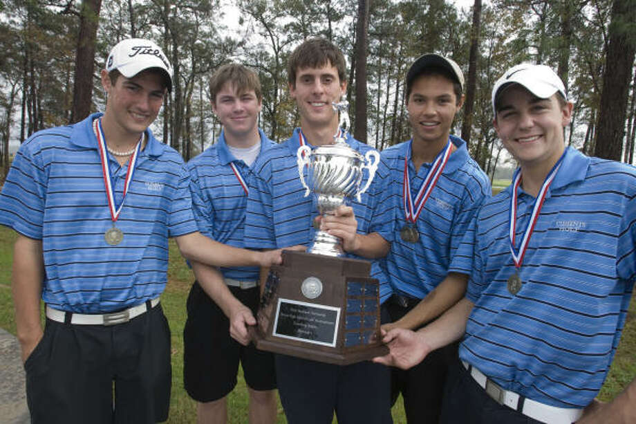 The Clements High school golf team won the first Dick Harmon Memorial Texas High school golf tournament at Redstone Golf Club.  (l-r) Jimmy Murphy, Key Colton, Connor Dawson, Johannes Veerman Jr. and Andrew Rostek, won the tournament with a team score of two over par through eight holes. The tournament was stopped short by rain. Photo: Billy Smith II, Chronicle