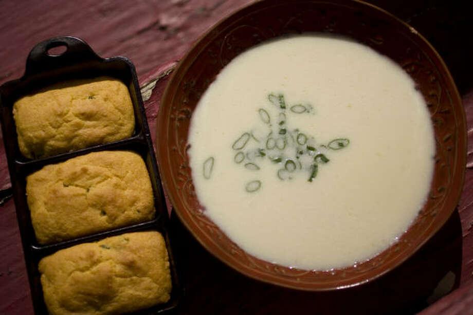 Crema de Palmitos soup features scallions, garlic and diced hearts of palm. Photo: SHARON STEINMANN PHOTOS :, CHRONICLE