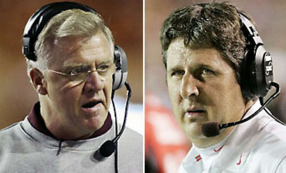 A&M coach Mike Sherman, left, said Texas Tech coach Mike Leach should stick to commenting about his own players, and leave his alone. Photo: AP Photos