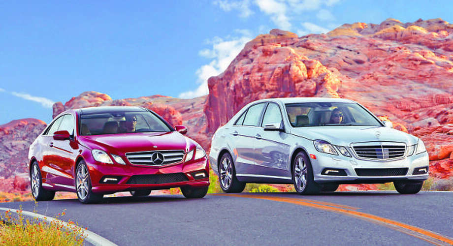 The all-new Mercedes-Benz 2010 E-Class coupe, left, pricing begins at $48,050 for the E350 V-6 and $54,650 for the E550 V-8. Sedan pricing starts at $53,200 for the V-6-powered E350 and $56,300 for the E550 V-8 model.