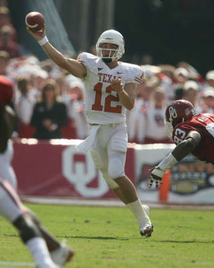 Saturday was a signal that Texas is better than anyone thought and that Colt McCoy might be every bit as capable of doing what Vince Young did in 2005, Richard Justice writes. Photo: Billy Smith II, Chronicle