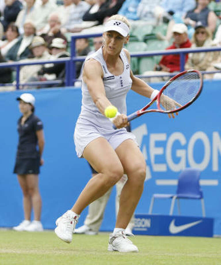 Elena Dementieva falls prey to the upset bug that is plaguing seeded players at the Eastbourne event. Photo: IAN KINGTON, AFP/Getty Images
