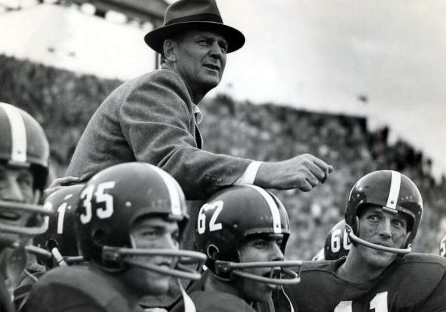 """In this undated file photo, Alabama football coach Paul W. """"Bear"""" Bryant is carried off the field by some of his players after the Crimson Tide beat rival Auburn. Photo: PAUL W. BRYANT MUSEUM"""