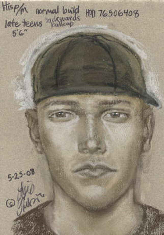 This police sketch shows the suspect, who is described as a Hispanic male, in his late teens, about 5 feet 6 inches tall and weighing 130 pounds. He has very short hair and was wearing blue jeans, a black T-shirt with the number 8 on the back, and a black baseball cap backward on his head. Photo: HPD