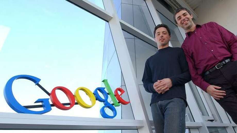 Google co-founders Sergey Brin, left, and Larry Page built the search engine company with four computers and $100,000. Photo: BEN MARGOT, ASSOCIATED PRESS FILE