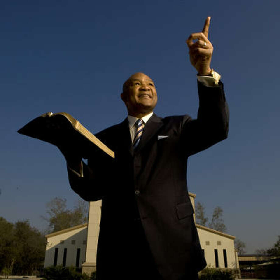 George Foreman is an ordained minister and he preaches at The Church of the Lord Jesus Christ in Houston. Photo: Robert Seale, For The Chronicle