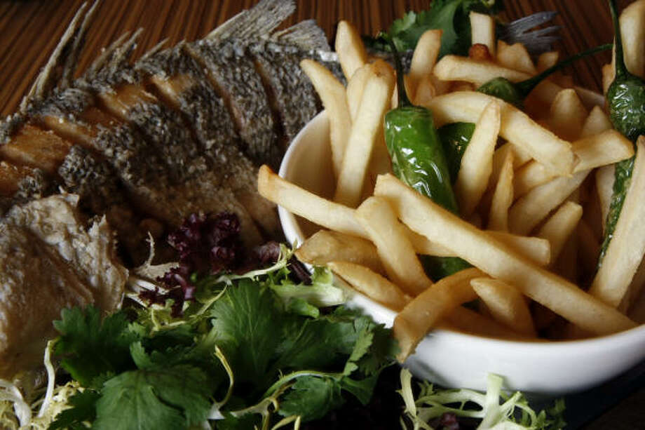 Fish and chips as prepared by Robert Gadsby, chef of Soma. Photo: Johnny Hanson, Houston Chronicle