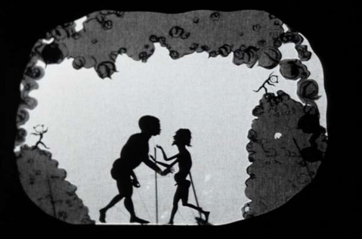 Kara E. Walker's shadow puppets made from cut-paper silhouettes tell a disturbing story of slavery in her short film 8 Possible Beginnings, or: The Creation of African-America, a Moving Picture by Kara E. Walker.