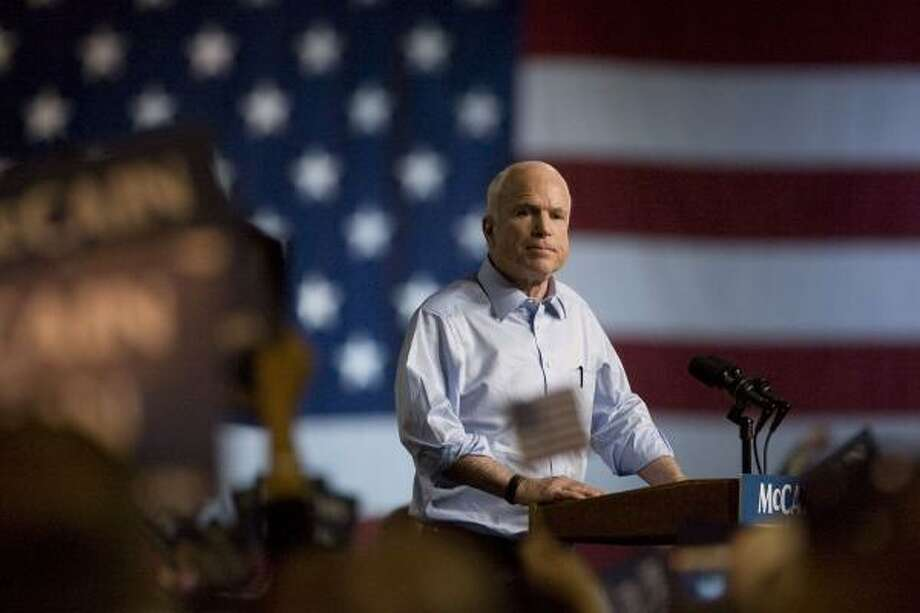 Republican presidential candidate Sen. John McCain speaks at a campaign rally Saturday at the Albuquerque Convention Center in Albuquerque, N.M. Photo: TOBY JORRIN, Associated Press