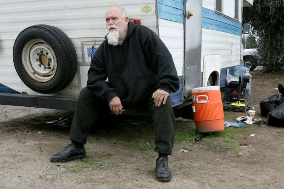 Dave Gilkey, 55, is unemployed, has health issues and is living in his recreational vehicle. About a dozen people have been living in RVs on the east side of Golden State Boulevard just south of Herndon Avenue in Fresno, Calif. Photo: MARK CROSSE, FRESNO BEE