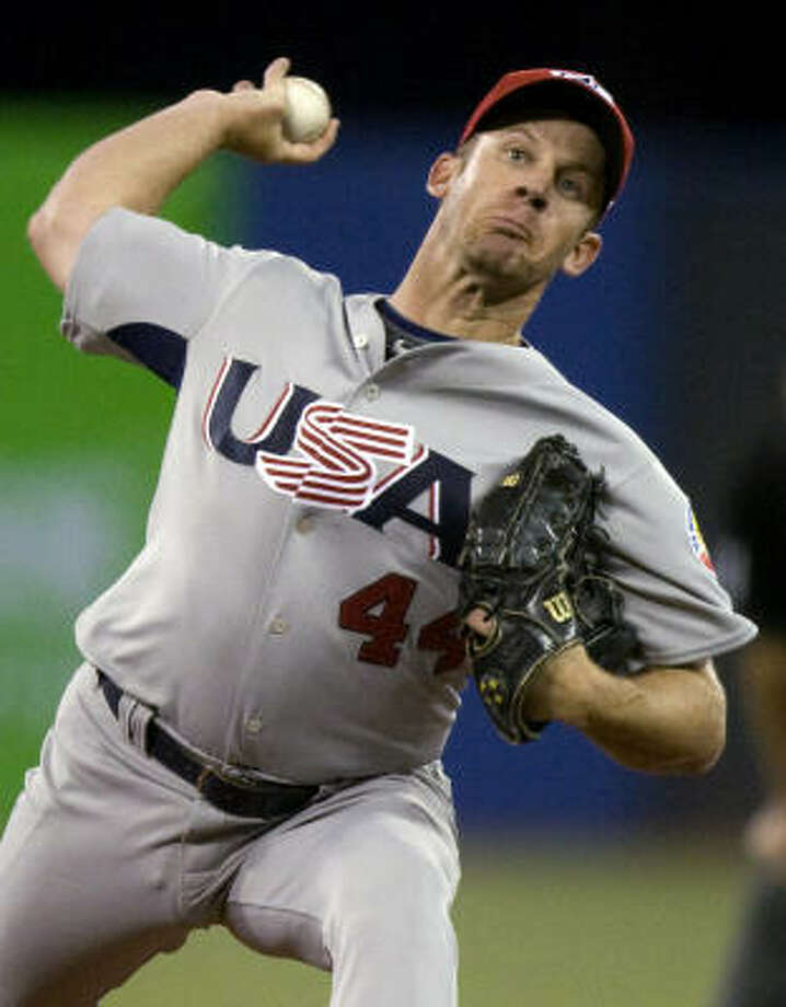 Starter Roy Oswalt of the Astros allowed three runs on six hits and two walks in 32⁄3 innings. Photo: Frank Gunn, AP