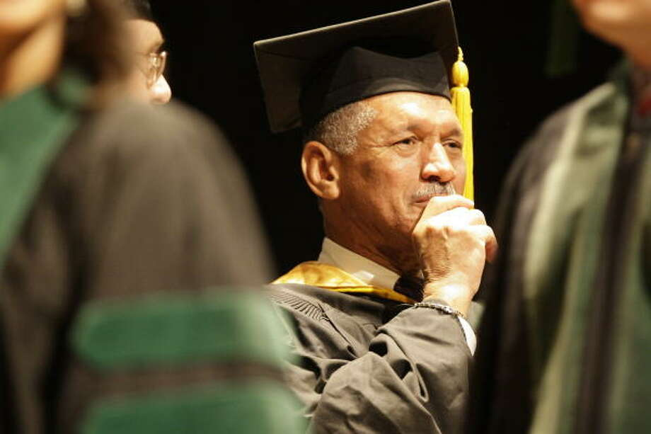 "Charles F. Bolden urged the Baylor College of Medicine graduates to ""do everything with passion."" Photo: Melissa Phillip, Chronicle"