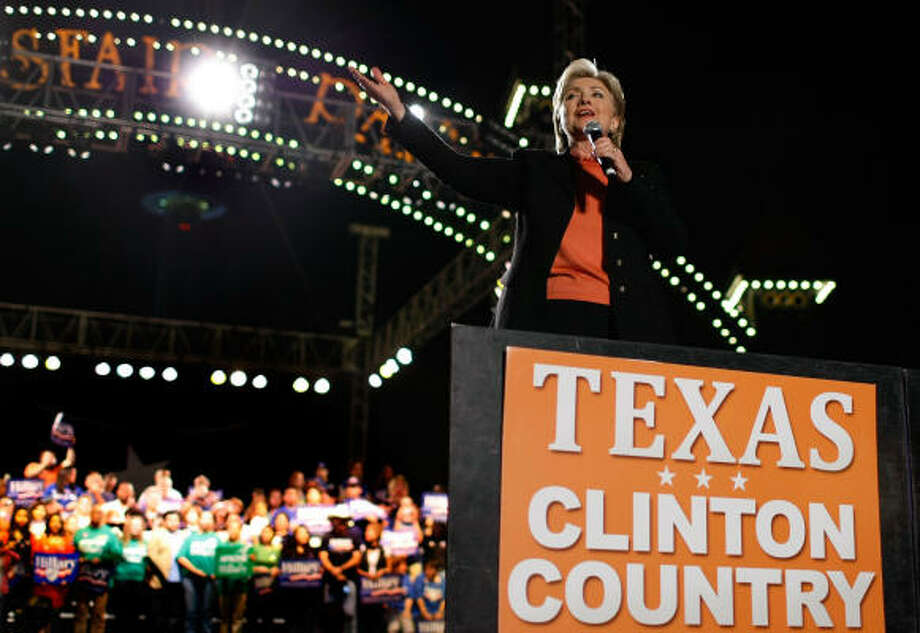 """Sen. Hillary Clinton speaks during a rally at Hemisfair Park Saturday in San Antonio. In the waning days before the Texas primary, Clinton has turned her focus to voter turnout in the """"Texas two-step."""" Photo: Justin Sullivan, Getty Images"""