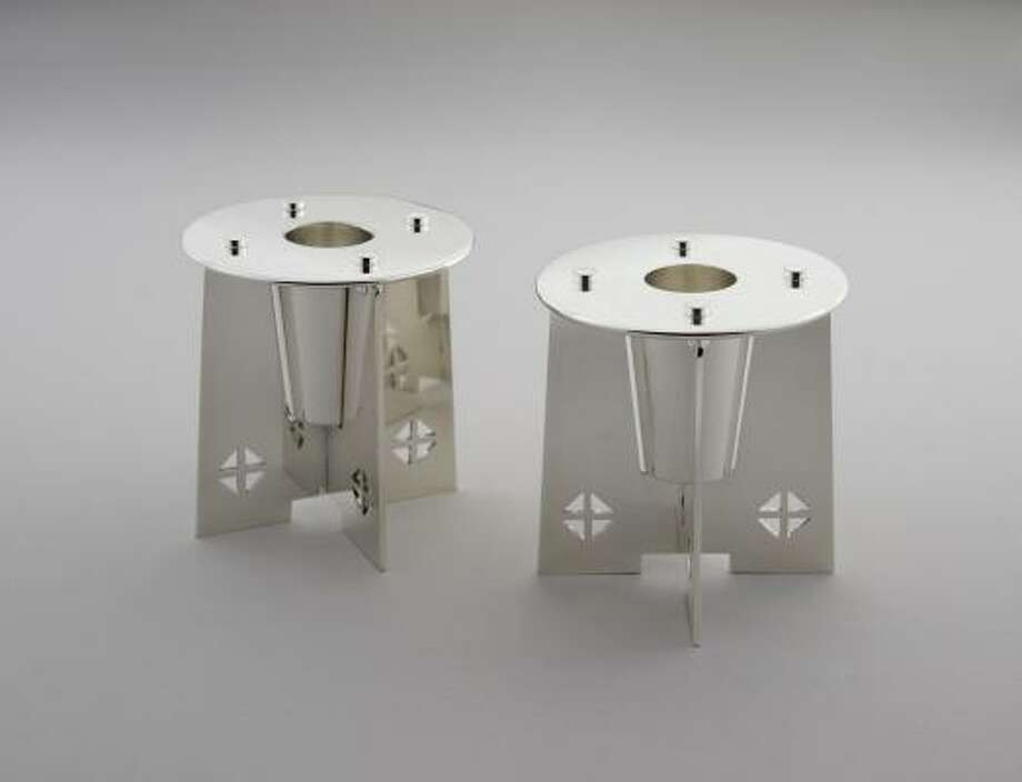 Candlesticks designed by Charles Gwathmey appear in the Designed by Architects: Metalwork from the Margo Grant Walsh Collection exhibit. Photo: Margo Grant Walsh Collection