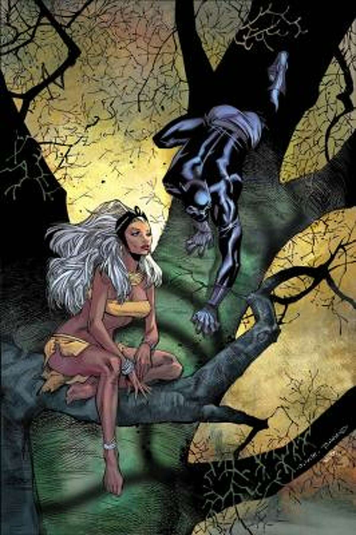 Marvel editor in chief Joe Quesada describes the marriage of X-Men's Storm and Black Panther, black superheroes, as ''our version of the wedding of Charles and Diana.''